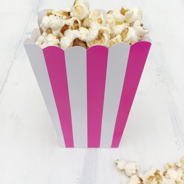 Bright Pink Stripe Popcorn Boxes