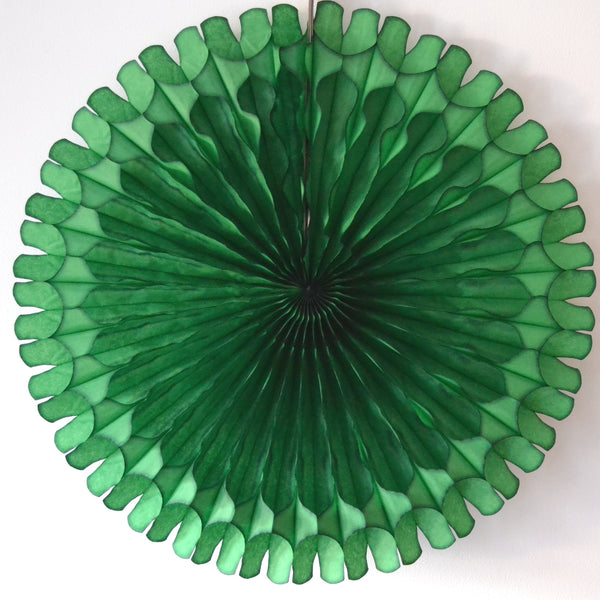 Dark Green Paper Fan 18 inch
