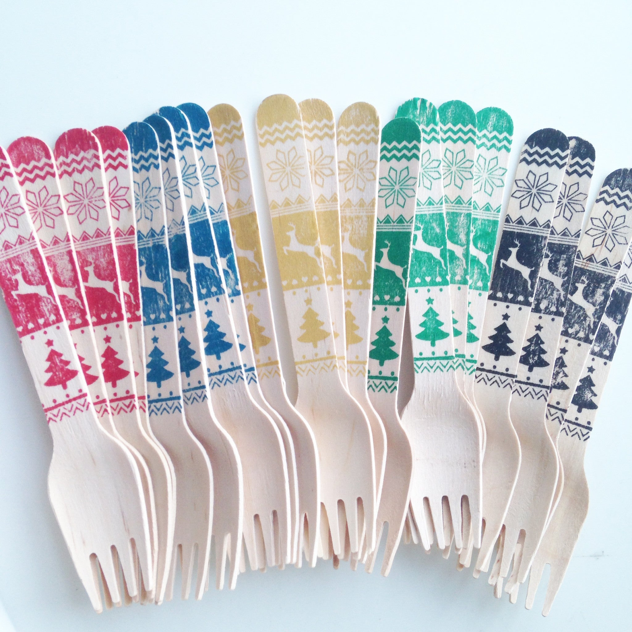 Festive Wooden Forks - The Sweet Hostess  - 1