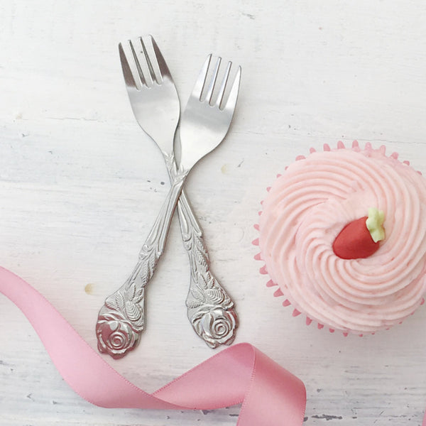 Small Rose Cake Forks