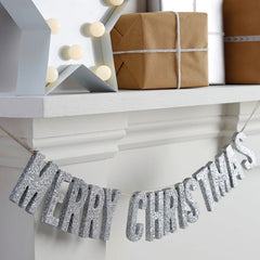 Silver Glitter Merry Christmas Wooden Bunting