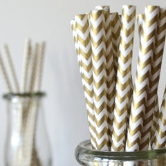 Gold Chevron Paper Straws - The Sweet Hostess