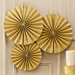 Gold Shimmery Paper Fans - The Sweet Hostess
