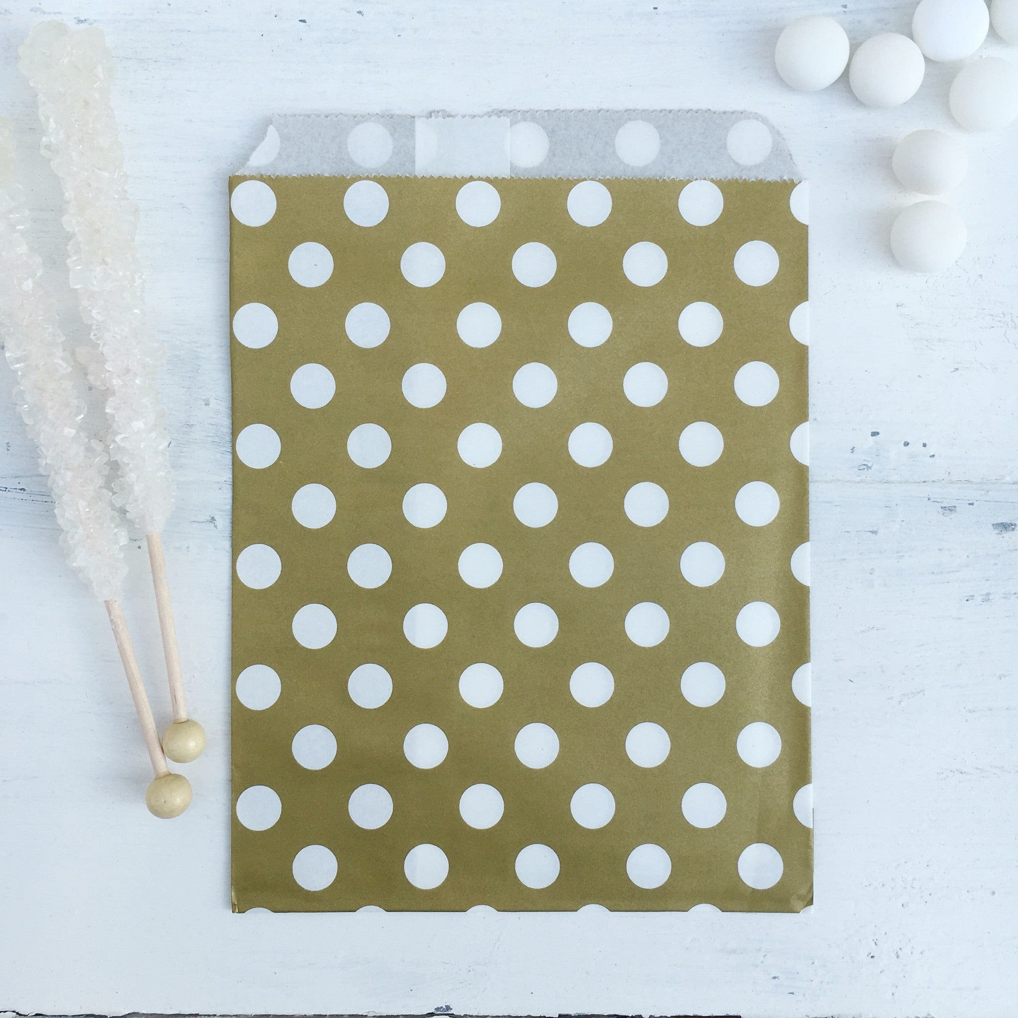 Gold Polka Dot Paper Bags - The Sweet Hostess
