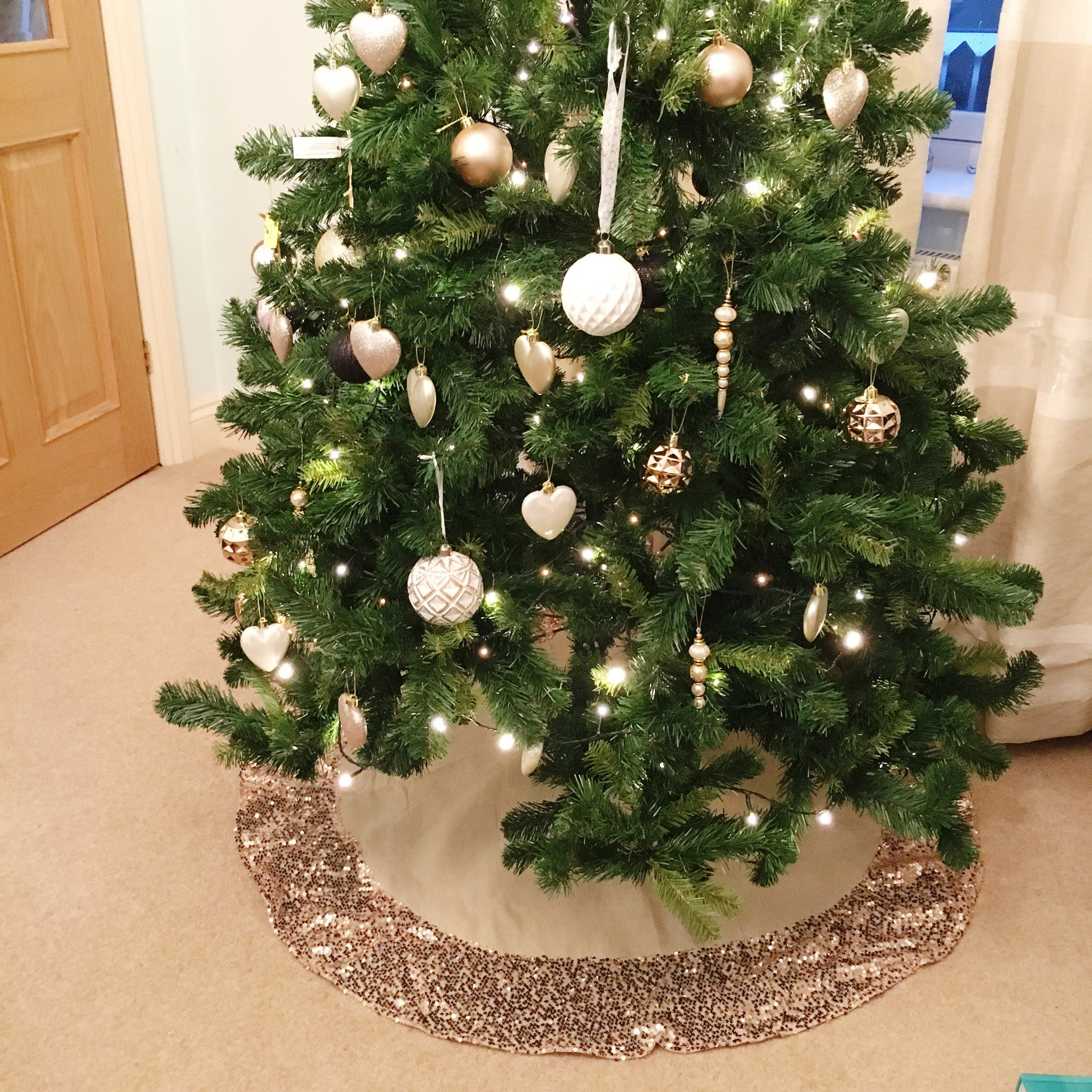 Hessian Christmas Tree Skirt With Rose Gold Sequin Trim The Sweet