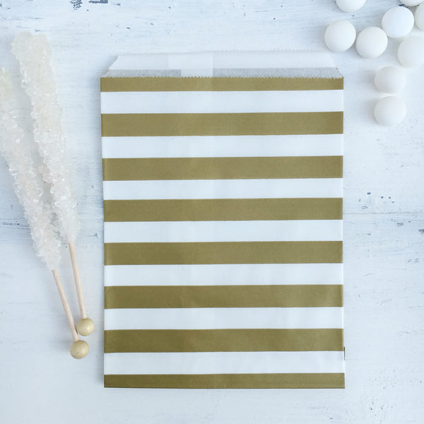 Gold Stripe Paper Bags