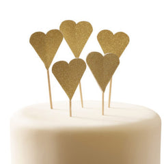 Gold Glitter Heart Cake Toppers - The Sweet Hostess  - 2