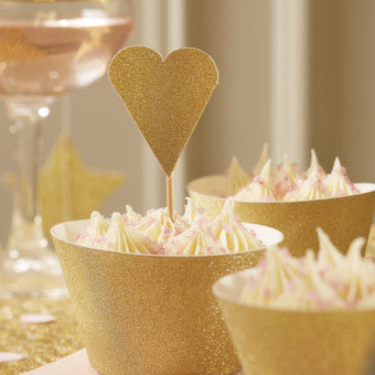 Gold Glitter Heart Cake Toppers