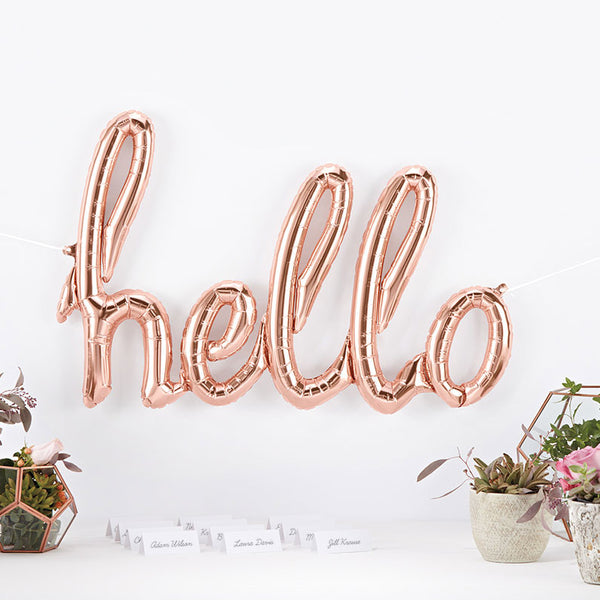 Rose Gold Hello Script Balloon