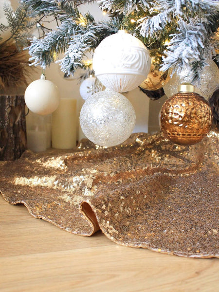 Antique Gold Sequin Lined Christmas Tree Skirt
