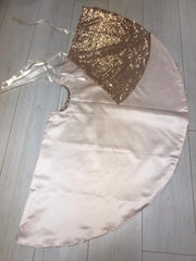 Rose Gold Sequin Satin Lined Christmas Tree Skirt