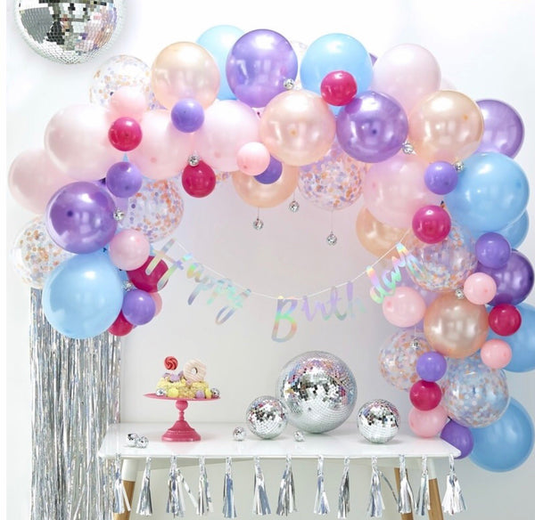 DIY Balloon Arch - Pastel pinks and purples