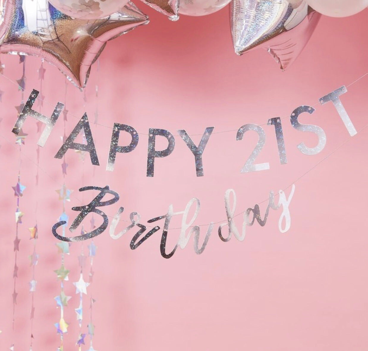 Any Age Happy Birthday Bunting / Garland - Silver