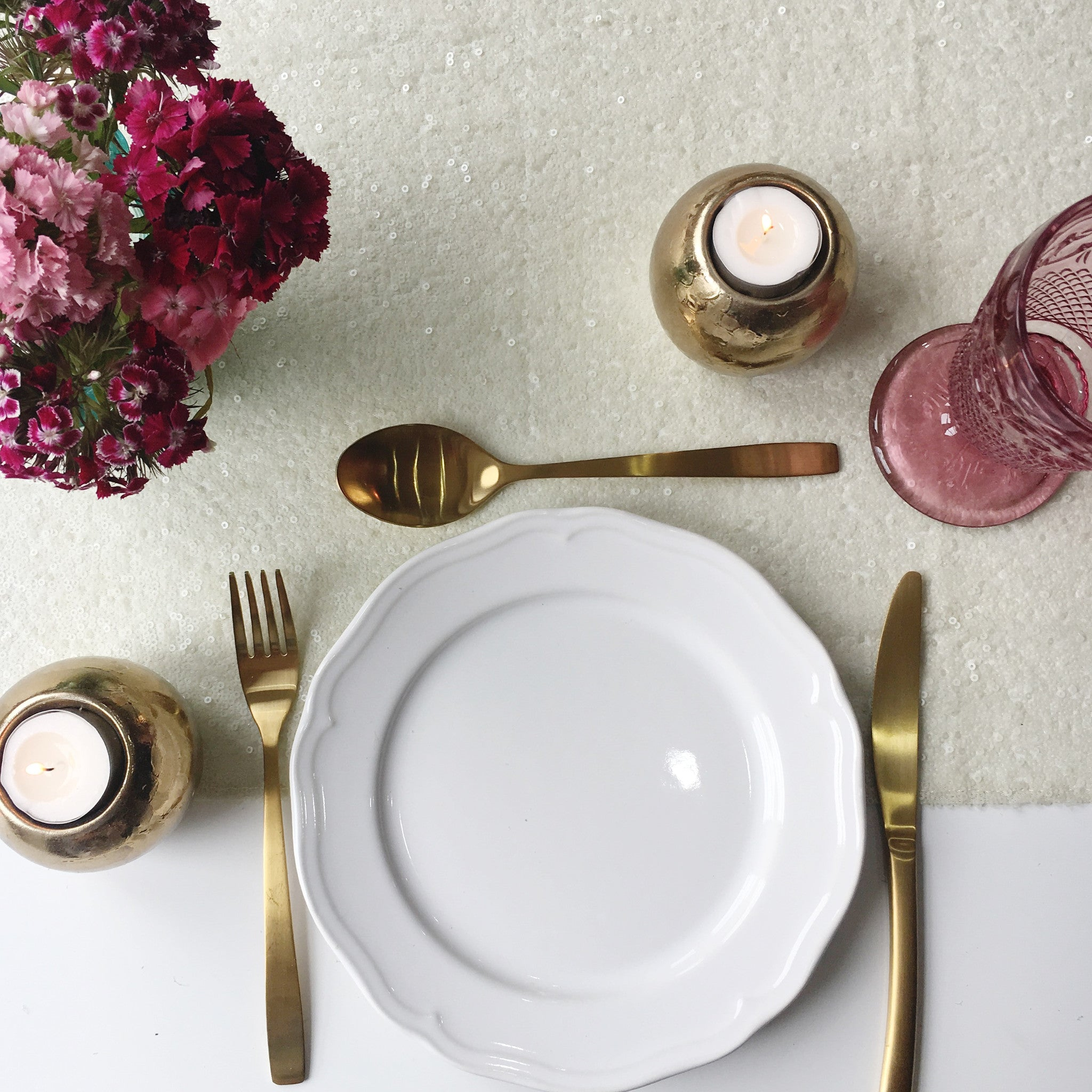 Ivory Sequin Table Runner - The Sweet Hostess  - 1