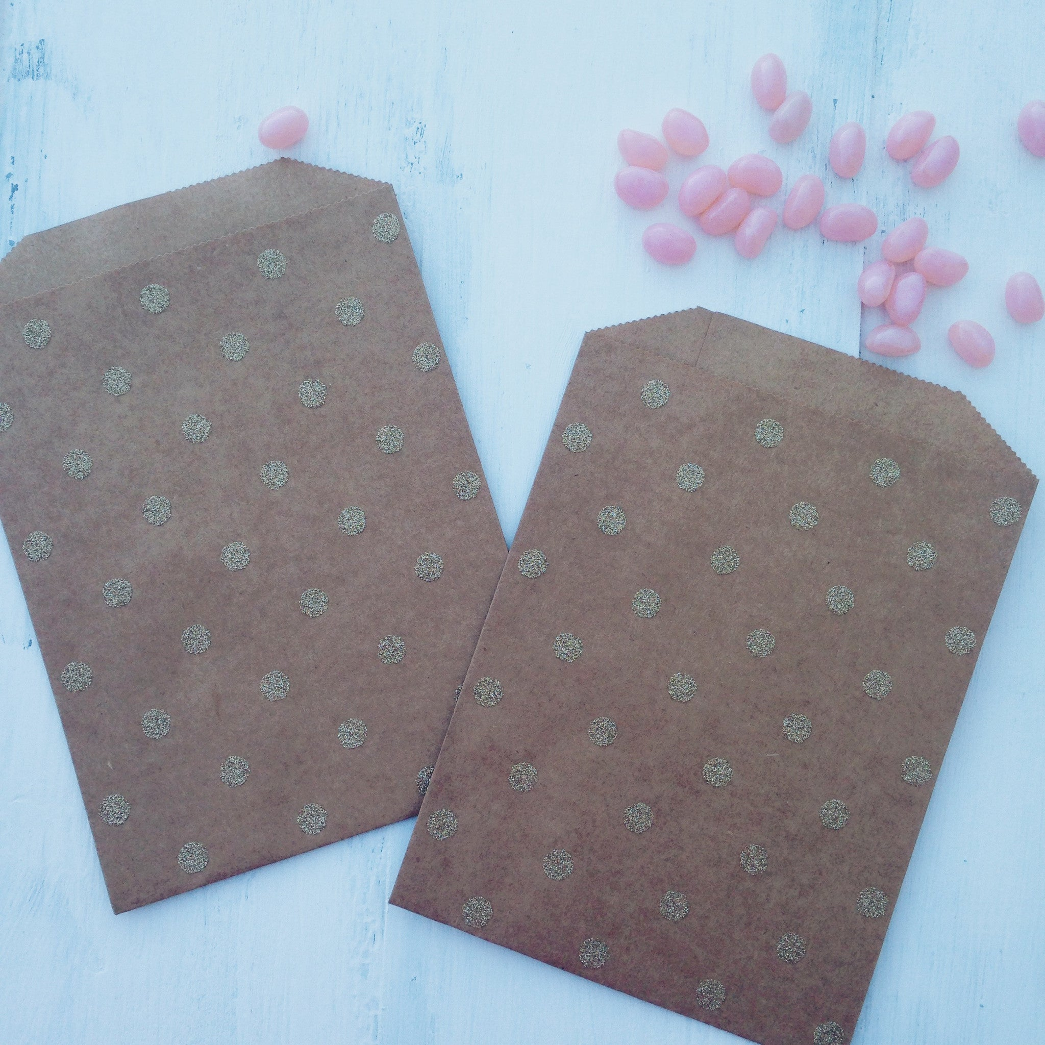 Gold Glitter Dots Kraft Party Bags - The Sweet Hostess  - 1
