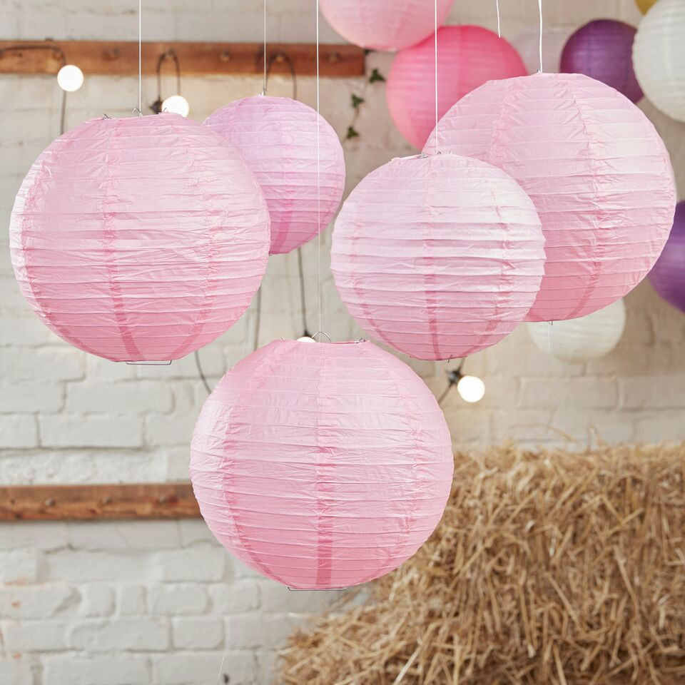 Light Pink Paper Lanterns - 5 Pack - The Sweet Hostess