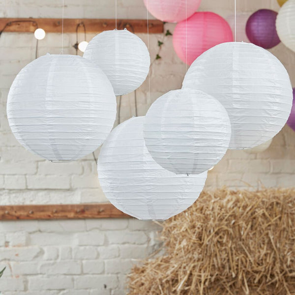 White Paper Lanterns - 5 Pack