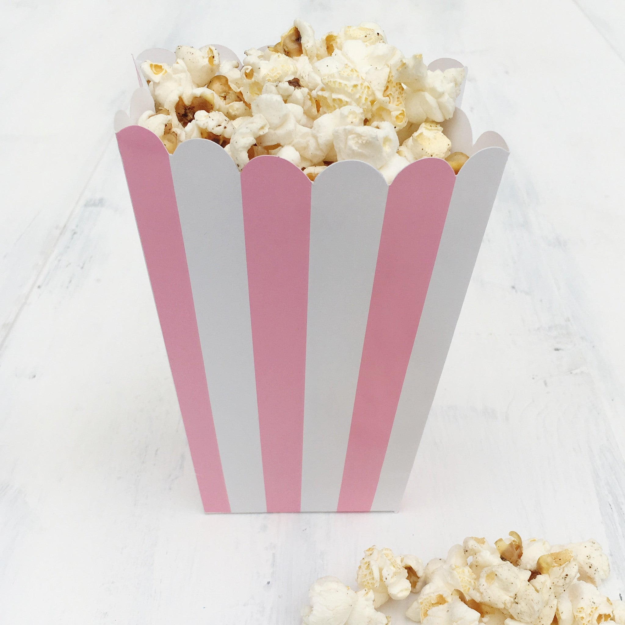 Light Pink Stripe Popcorn Boxes - The Sweet Hostess