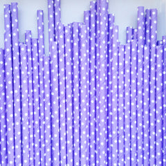 Lilac Polka Dot Paper Straws - The Sweet Hostess  - 1