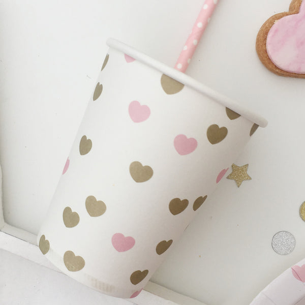 Pink & Gold Heart Paper Cups