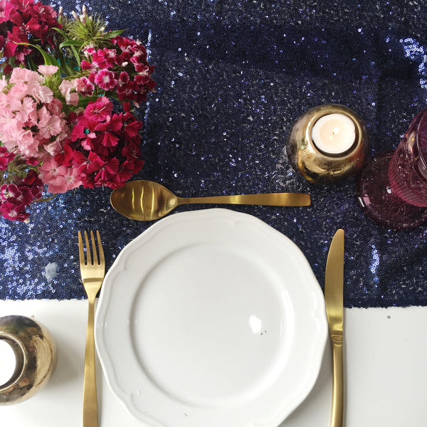Midnight Blue Sequin Table Runner