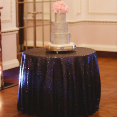 Midnight Blue Sequin Table Linen - The Sweet Hostess  - 1