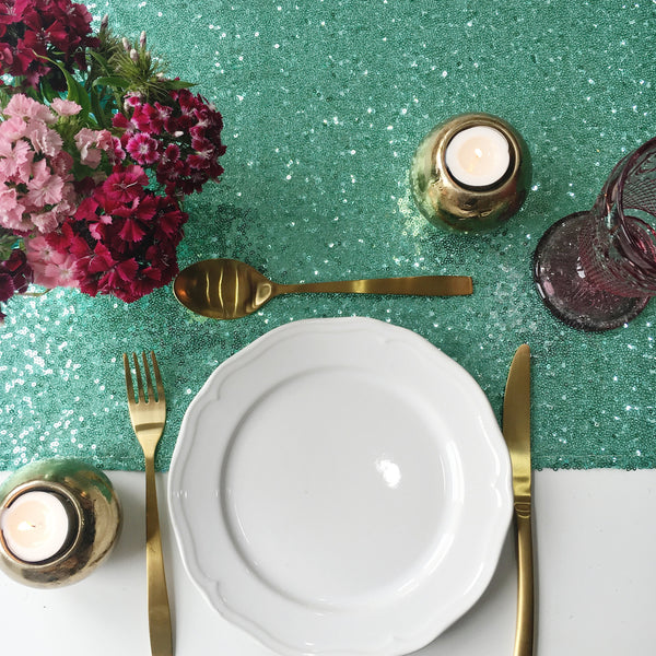 Mint Sequin Table Runner