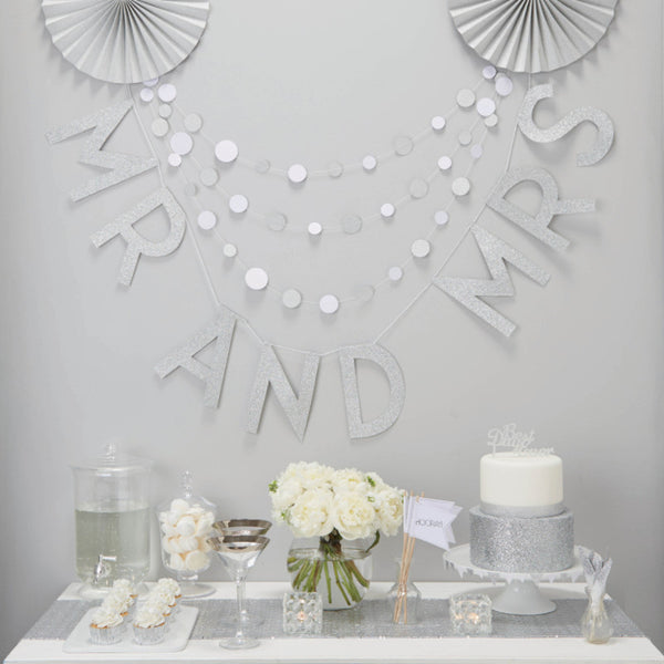 Silver Glitter Mr & Mrs Wedding Bunting