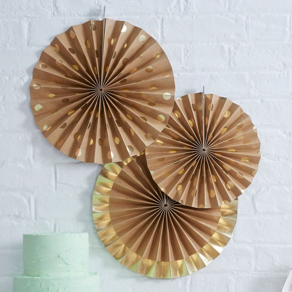 Kraft Gold Polka Dot Paper Fan Decorations