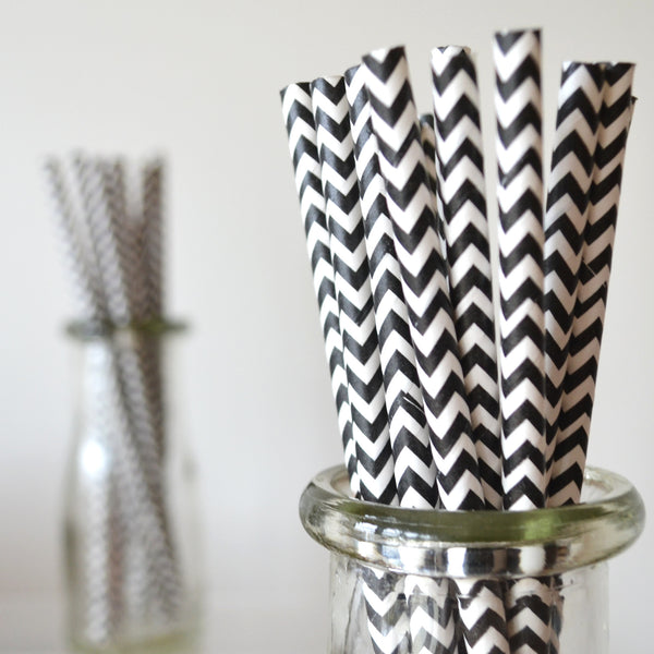 Black Chevron Paper Straws