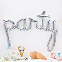 Silver Hollographic Party Script Balloon