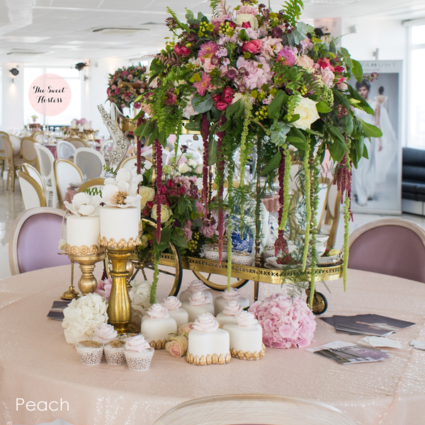Peach Sequin Table Linen