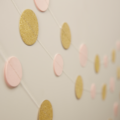 Gold Glitter and Pink Garland - The Sweet Hostess