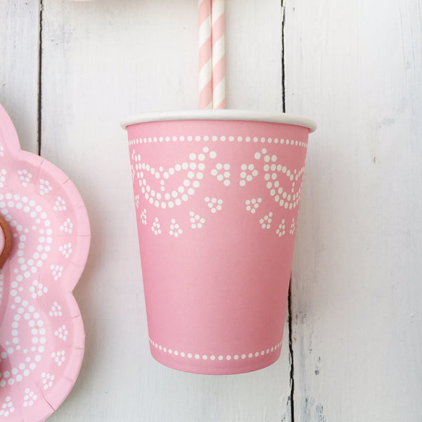 Pastel Pink Lace Party Cups