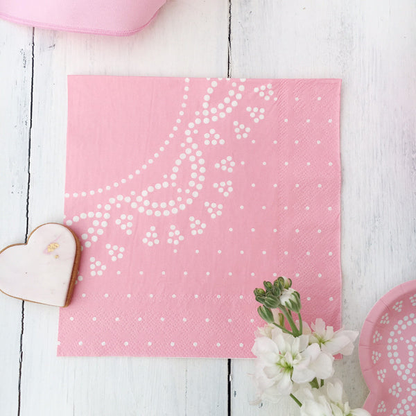 Pastel Pink Lace Party Napkins