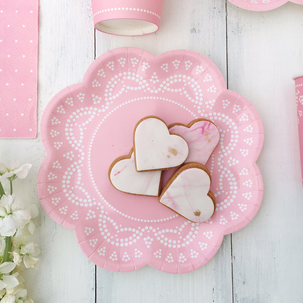 Pastel Pink Lace Party Plates
