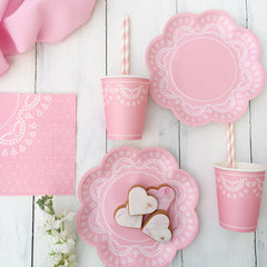 Pastel Pink Lace Party Cups - The Sweet Hostess  - 2