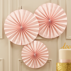 Pink Shimmer Paper Fans - 3 pack - The Sweet Hostess