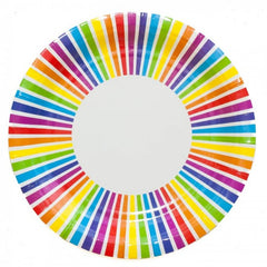 Rainbow Stripe Party Plates - The Sweet Hostess