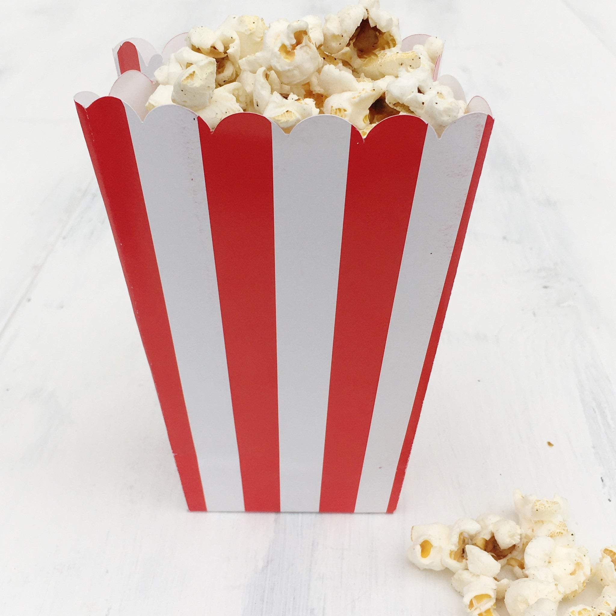 Red Stripe Popcorn Boxes - The Sweet Hostess