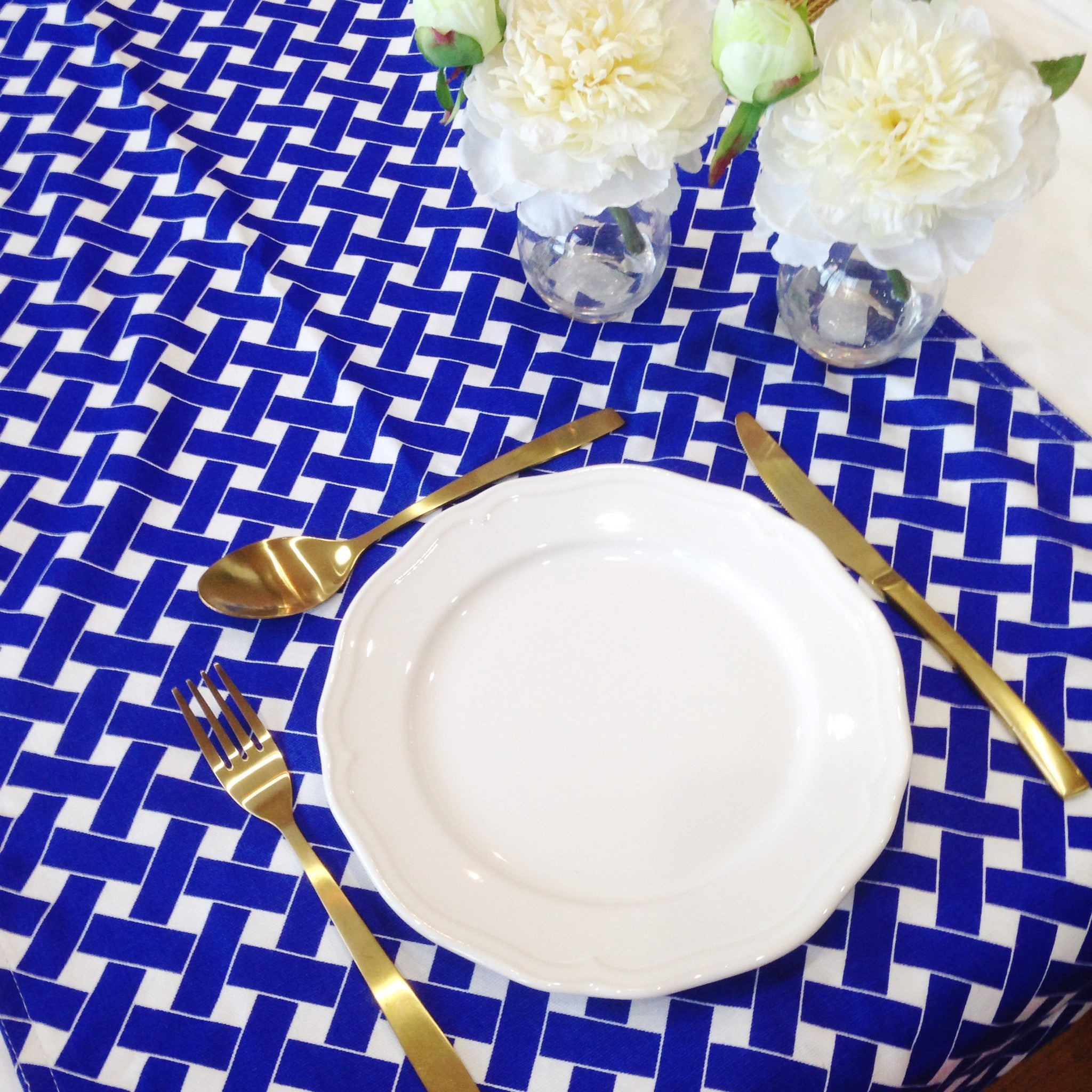 Blue / White Lattice Table Runner - The Sweet Hostess  - 1