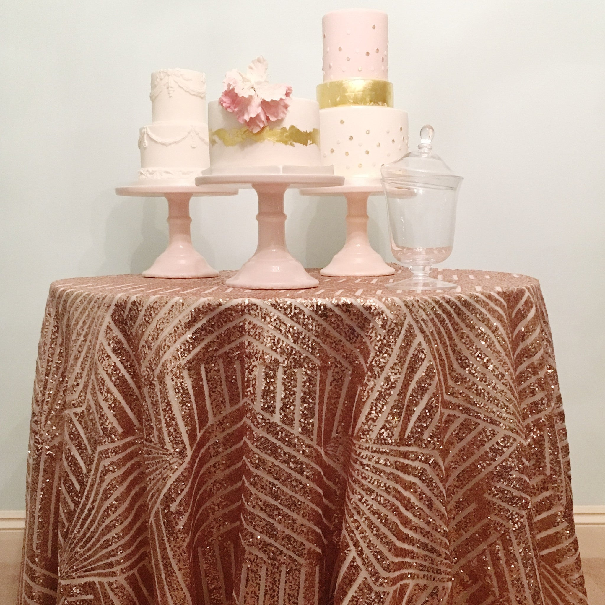 Rose Gold Geometric Sequin Table Linen   The Sweet Hostess   1