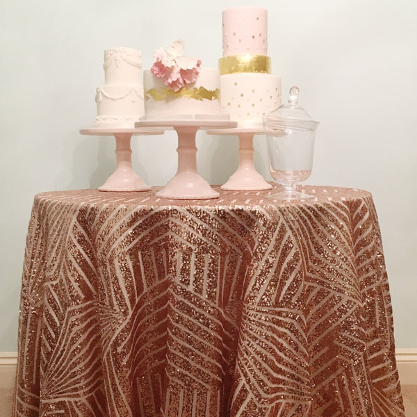 Rose Gold Geometric Sequin Table Linen