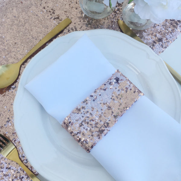 Rose Gold Sequin Napkin Holders