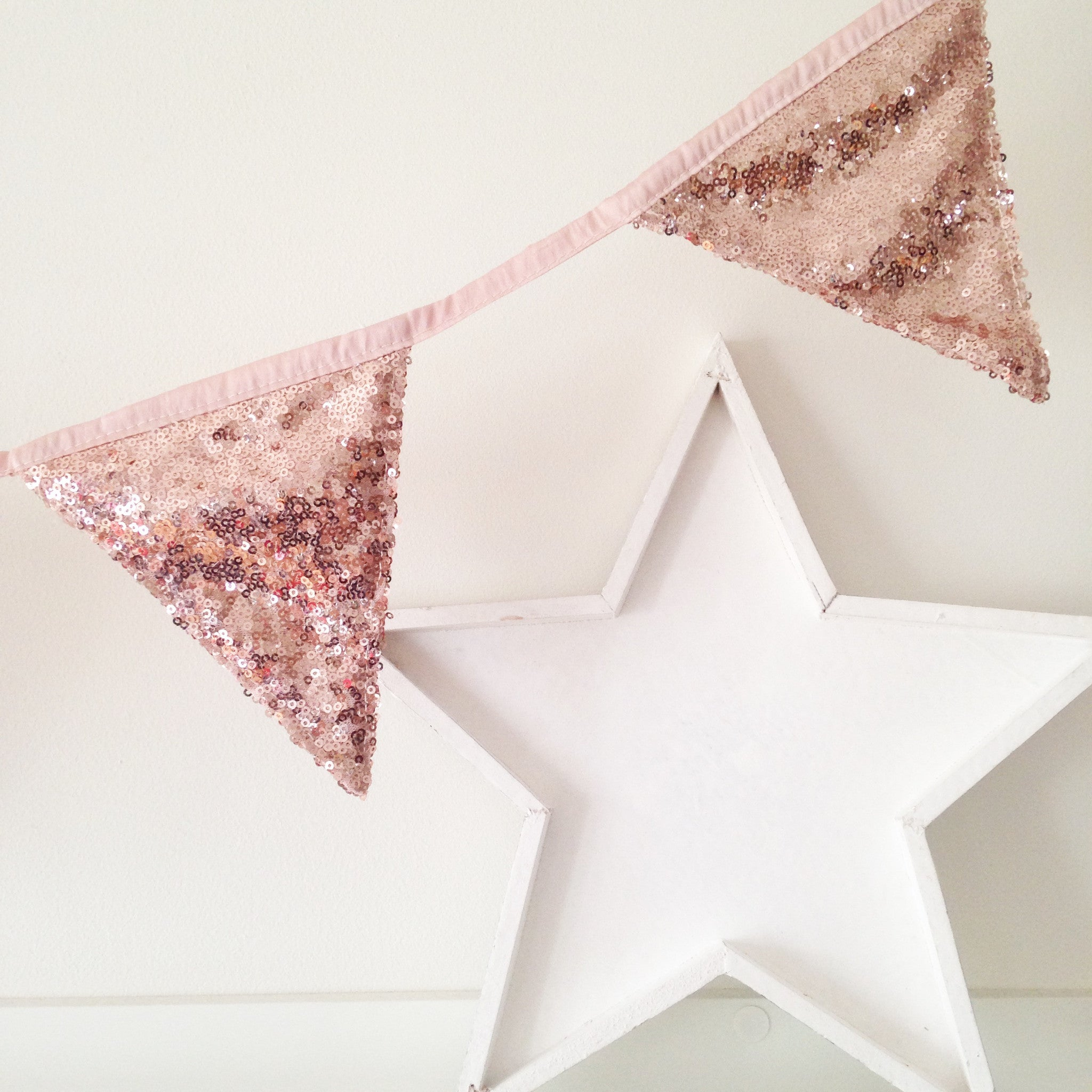 Rose Gold Sequin Bunting The Sweet Hostess