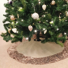 Hessian Christmas Tree Skirt with Rose Gold Sequin Trim - The Sweet Hostess  - 1