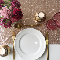 Rose Gold Sequin Table Linen - The Sweet Hostess