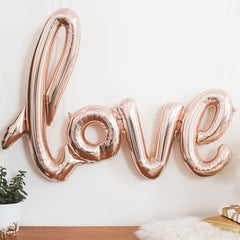 Rose Gold Love Script Balloon - The Sweet Hostess