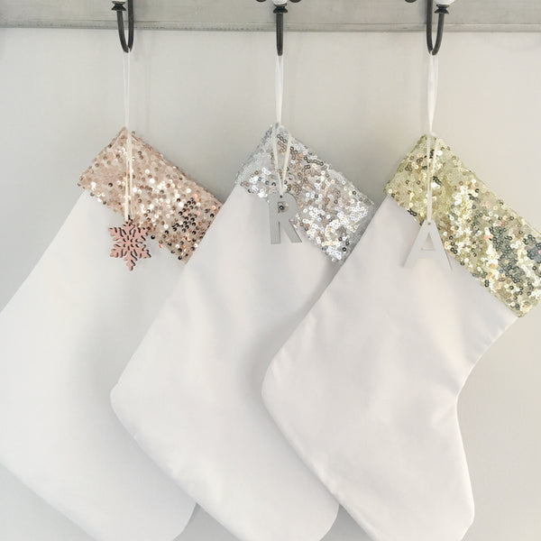 Silver Sequin Christmas Stocking