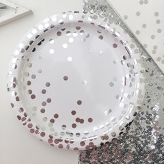 Silver Foil Confetti Paper Plates - The Sweet Hostess  - 1
